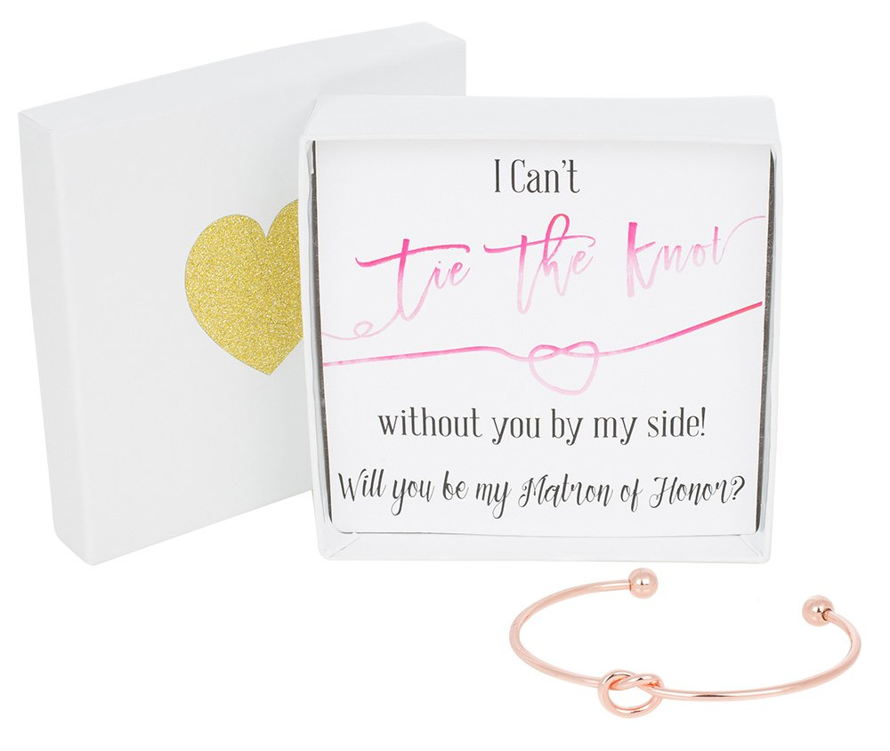 Bridesmaid Gift Bracelet, Tie The Knot Bracelet w/ Gift Box, Matron of Honor Gift, Love Knot Jewelry, Bridal Party Gift Sets (Gold, Rose Gold, Silver) (Pink Note_Rose Gold Bracelet)
