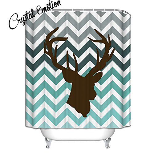 Crystal Emotion Chevron Deer Head Pattern Shower Curtain