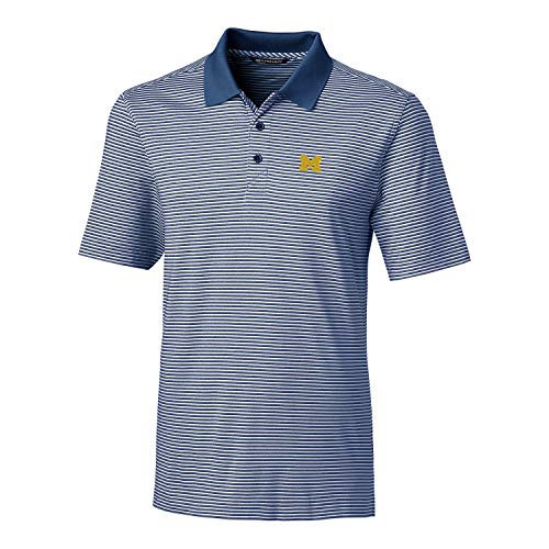 Cutter & Buck NCAA Michigan Wolverines Men's Short Sleeve Tonal Stripe Forge Polo, Indigo, XXXL