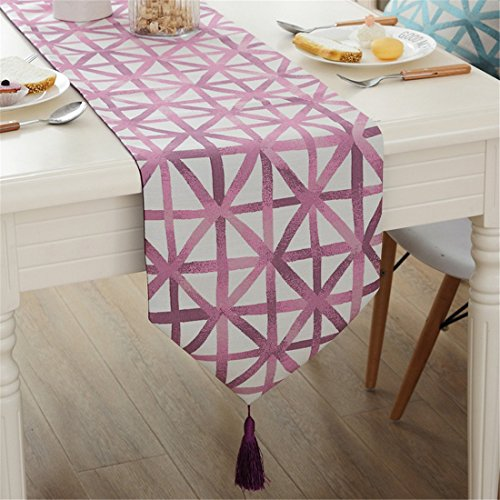 Modern simple geometric patterns tassel table runner for party wedding home decorative 72 inch (Pottery Black Dresser)