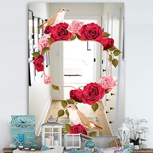 Designart 'Garland Sweet 8' Farmhouse Mirror - Frameless Mirrors, Large Wall Mirror, -