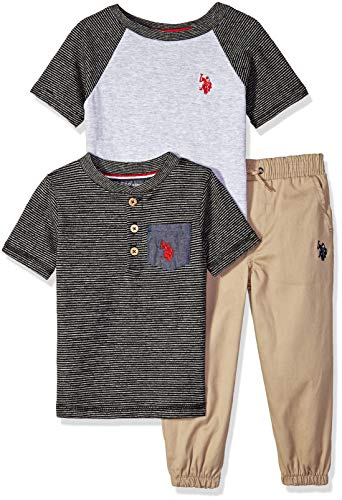 (U.S. Polo Assn. Boys' Little T-Shirt and Pant 3 Piece Set, Red Logo with Space Dye Stripes Black, 7)