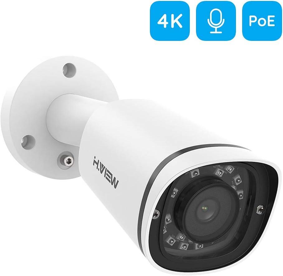 audio integrado en una sola v/ía. H.VIEW C/ámara IP 4K POE H.265 8 MP c/ámara de vigilancia con lente fija de 2,8 mm IP67 resistente a la intemperie