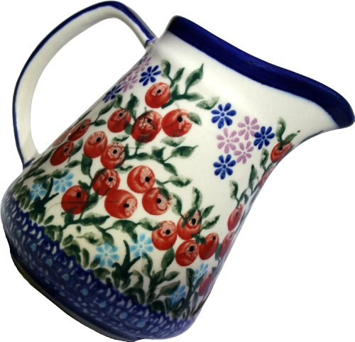 - Polish Pottery Ceramika Boleslawiec 0205/282 Royal Blue Patterns 1-Cup Jacek Pitcher, 0.25-Liter, Red Berries and Daisies