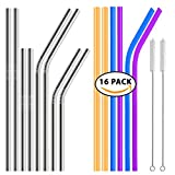 Reusable Drinking Straws Kit of 16, Stainless Steel, Bamboo & Silicone, Long, Short, Bent & Straight Included With Cleaning Brushes - RnB Co.