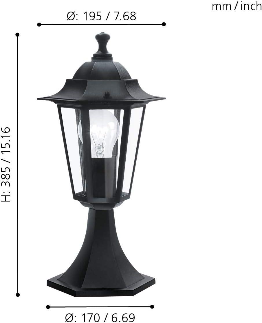 1 flammige Au/ßenleuchte inkl IP44 EGLO Au/ßen-Wandlampe Laterna 4 Sensor-Wandleuchte aus Aluguss und Glas Bewegungsmelder Fassung: E27 Farbe: Schwarz