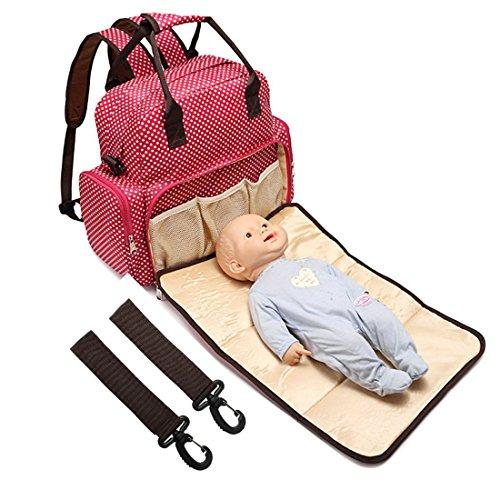 Multi functional Baby Diaper Backpack Nappy Bag Changing Bag Waterproof Handbag Shoulder Bags Small Dots Red
