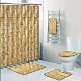 Philip-home 5 Piece Banded Shower Curtain Set Bamboo Weave Bamboo Wood Texture for Pattern Adornment
