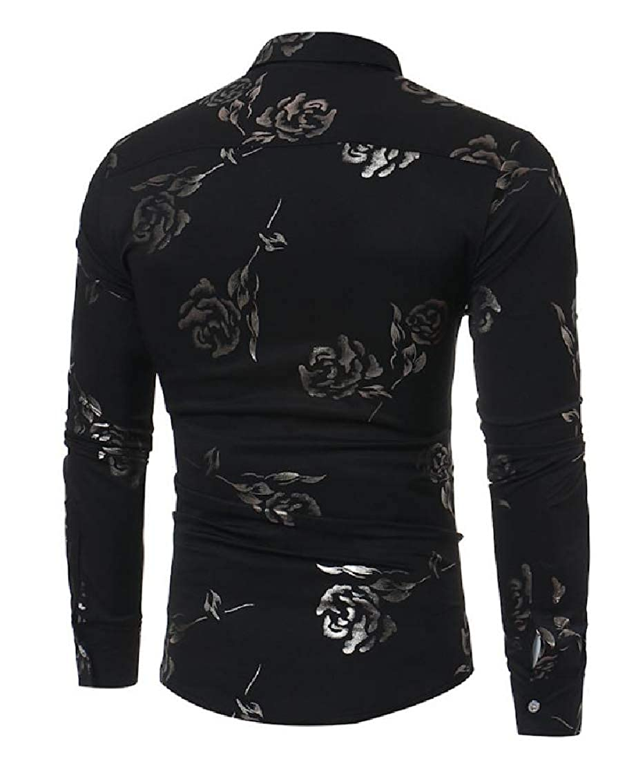 pipigo Mens Long Sleeve Turn Down Printing Tops Dress Button Up Shirts