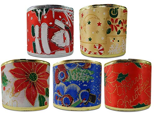 Economy Wired Ribbon Gilded Variety Assortment Christmas Holiday 2.5 inches by 3 Yards Total 15 Yards Snowman Santa Poinsettia Red White Green and Gold (Holiday Asst - Ribbon Poinsettia