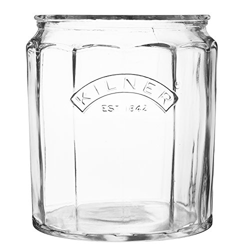 Kilner Facetted Utensil Crock, Sturdy Oversized Glass Caddy with Wide Mouth Organizes All Kitchen Tools in One Place, Vintage Design, 125-Fluid Ounces