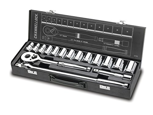 Channellock 32162 1/2 Drive Metric Socket Set, 16 (13 Piece Flex Extension)