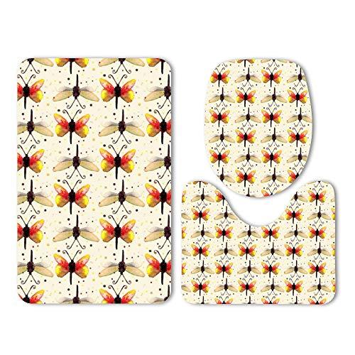 DKISEE 3 Piece Bathroom Mat Set Watercolor Butterfly Pattern Washable Bath Rug Set Non Slip Carpet Bath Mat Set