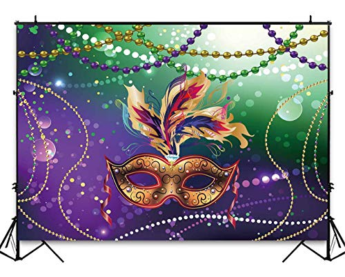 Funnytree 7x5ft Mardi Gras Mask Colorful Photography Backdrop Mysterious Carnival Masquerade Backgrounds Birthday Dancing Party Banner Photo Booth Cake Table Banner ()