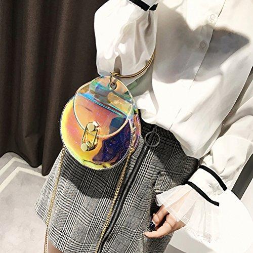 OULII Mini Transparente Hologramm Umhängetasche Handtaschen Rundeform mit Ketten für Damen Mädchen