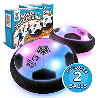 LLMoose Hover Soccer Ball – Set of 2 - Indoor Hover Ball with LED Lights and Soft Foam Bumpers to Protect Furniture – Best Kids Toys Fútbol for 2-16 Year Old Boys and Girls.