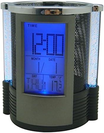 timer e termometro con sveglia e righello in rete sveglia digitale LCD da scrivania calendario Blu Portapenne multifunzione organizer da tavolo orologio astuccio in metallo blu nero