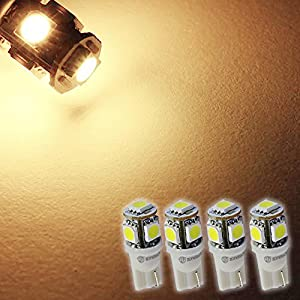Zone Tech LED replacements for Malibu Landscape light 5 LED SMD SMT 194 T10 Wedge Base Warm White 12V DC/AC 1407WW (Pack of 4)
