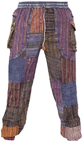Cotton Peace Patch - Little Kathmandu Men's Cotton Peace Patch Stonewashed Casual Elastic Waist Trousers Small