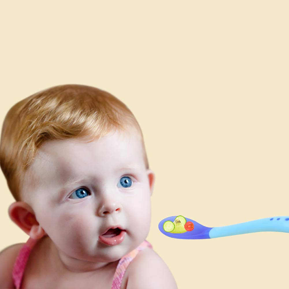 Baby Temperature Spoon Sensing Feeding Spoons Weaning Spoons for Infant Baby Random Color 2PCS
