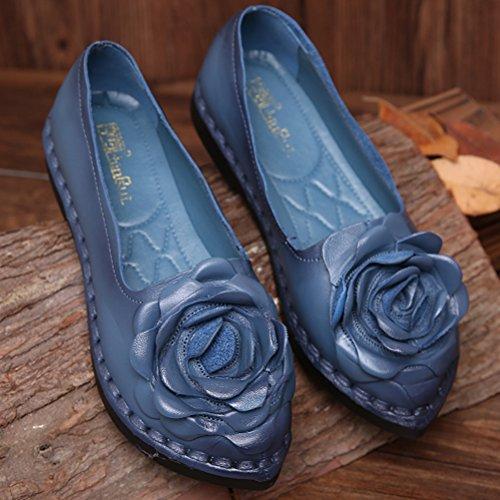 Flat Shoes Pattern Mordenmiss New 5 Women's Fall Flower Style blue qwpPtg