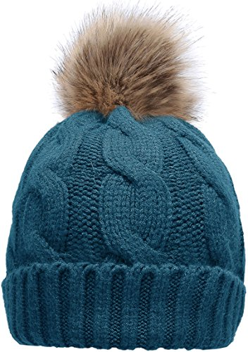 Hat Knit Teal - NEOSAN Women's Winter Ribbed Knit Faux Fur Pompoms Chunky Lined Beanie Hats Twist Teal