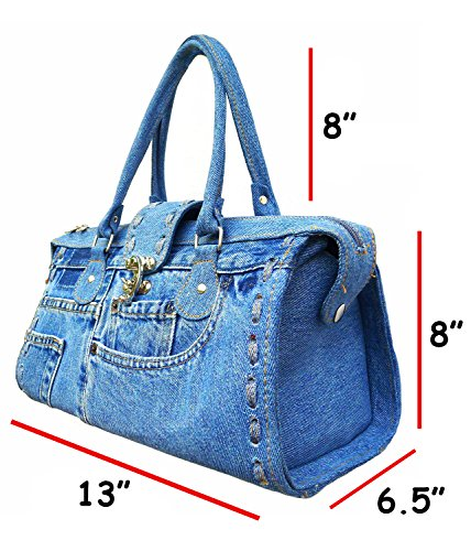 BDJ Classic Blue Denim Jean Doctor Style with Hand Stitching Edge Women Handbag