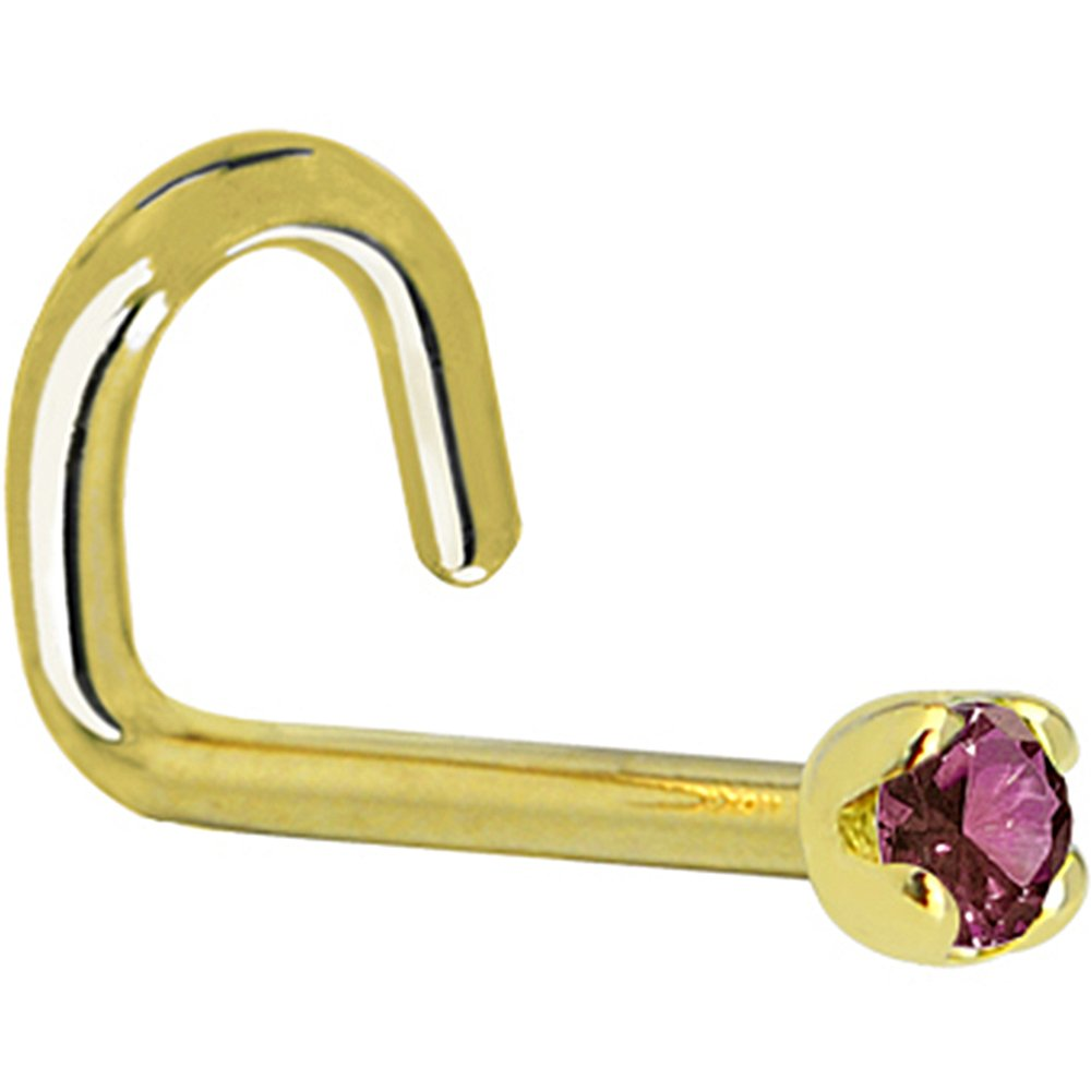 Genuine Purple Diamond Left Nose Stud Screw 20 Gauge 1//4 Body Candy Solid 18k Yellow Gold 1.5mm 0.015 cttw
