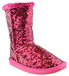 Women's Bling Sequin Faux Fur Shearling Boots