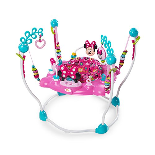 Minnie Mouse Peek-A-Boo Foldable Baby Girl Activity, Entertainment, Leaning, and Developmental Jumper with Lights, Melodies, and Toys, Pink