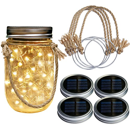 Homeleo 4 Pack Wide Mouth Solar Mason Jar Lid Lights w/Burlap Hangers, 20LED Warm White Solar Powered Mason Jar Firefly Light for Outdoor Decoration Summer Garden Yard(Jars Not Included)