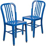 Flash Furniture 2-CH-61200-18-BL-GG Metal Indoor-Outdoor Chair (2 Pack), Blue