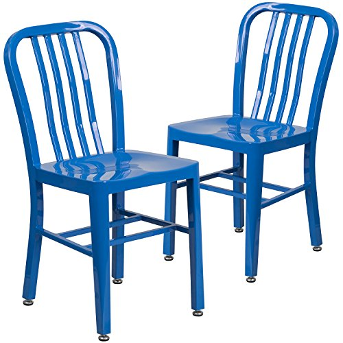 New Chair Restaurant Seating - Flash Furniture 2 Pk. Blue Metal Indoor-Outdoor Chair