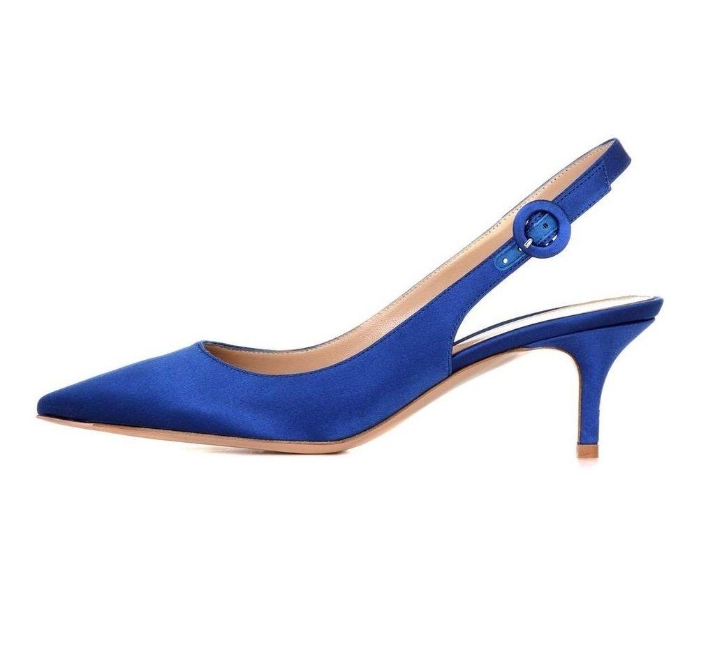 EDEFS Damen Kitten-Heel Slingback Pumps Spitze 6.5cm Mittlerer Absatz Pointed Toe Schuhe  40 EU|Blausatin
