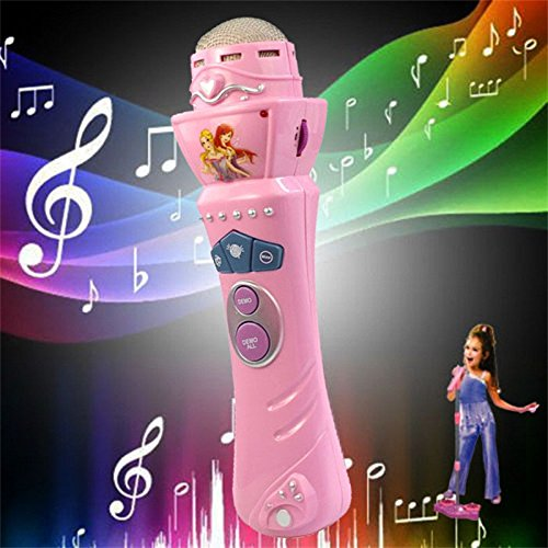 Newdiva Wireless LED Microphone Mic Karaoke Singing for Girls boys - Singing Pretend Kids Funny Gift Music Toy (Pink)