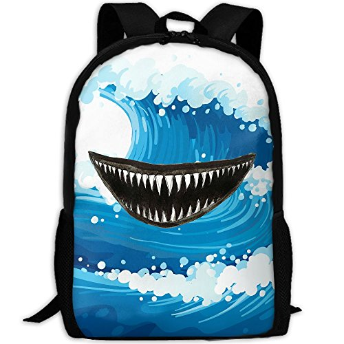 Leisue Scary Teeth Jaw Of Shark Clipart Adult Travel Backpack School Casual Daypack Oxford Outdoor Laptop Bag College Computer Shoulder Bags