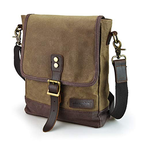 SHANGRI-LA Small Messenger Bag for Men and Women Waxed Canvas Purse Waterproof Crossbody Satchel Bag Sling Pack Khaki
