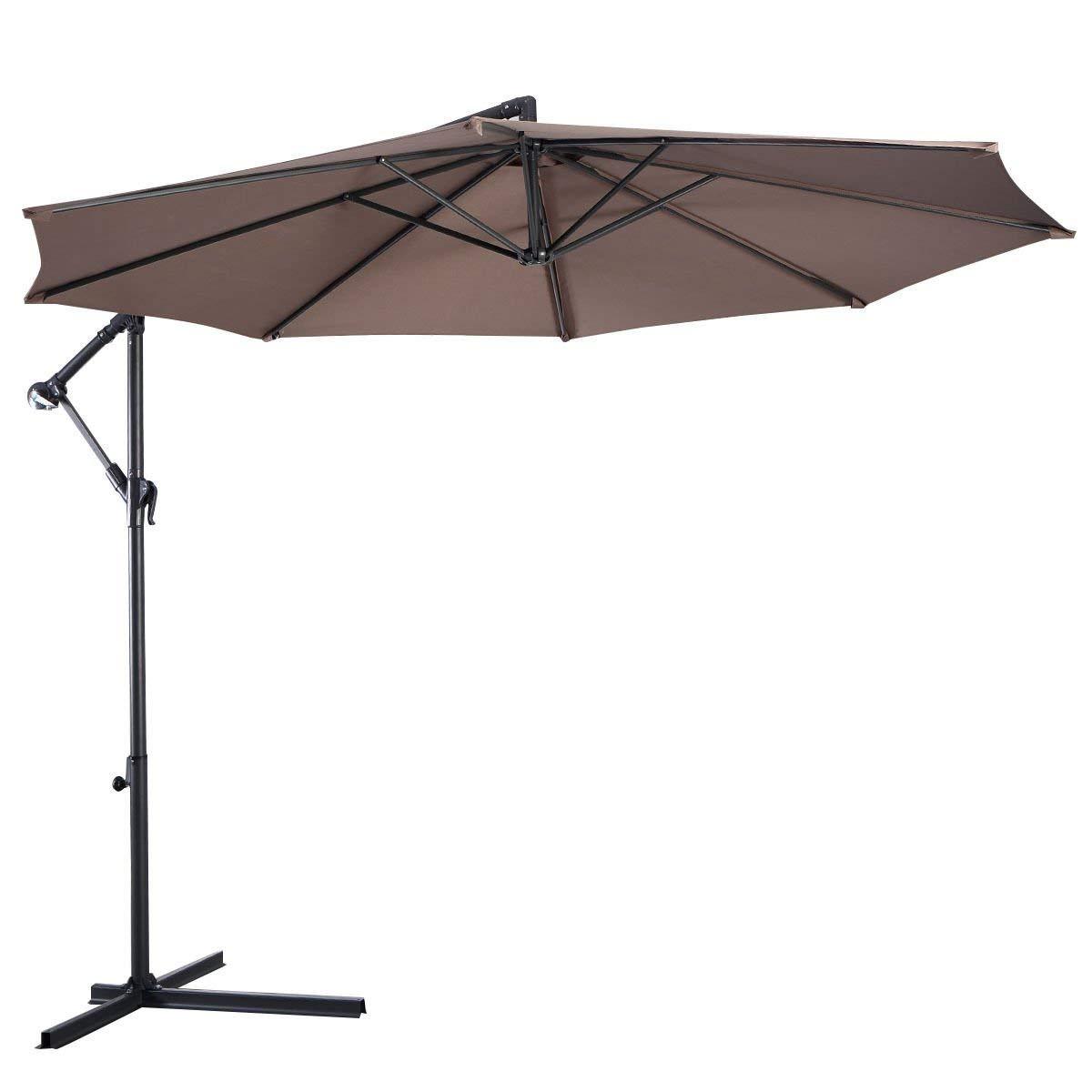 Tangkula Patio Umbrella 10ft Outdoor Sun Shade Umbrella Hanging Offset Crank W/Corss Base 8 Rips Steel Sturdy Frame Table Umbrella for Garden Pool Deck Market Umbrella (Tan)