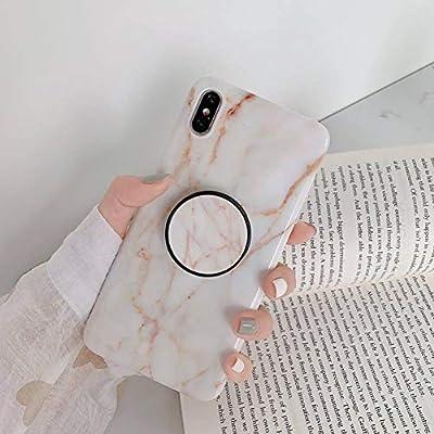 KONGMM Titular De Mármol Tinta Funda De Silicona para iPhone X XR XS MAX Cubierta Completa Suave para iPhone 7 8 Plus 6 6 S Plus Soporte Coque Fundas-White Crack,For iPhone 6S:
