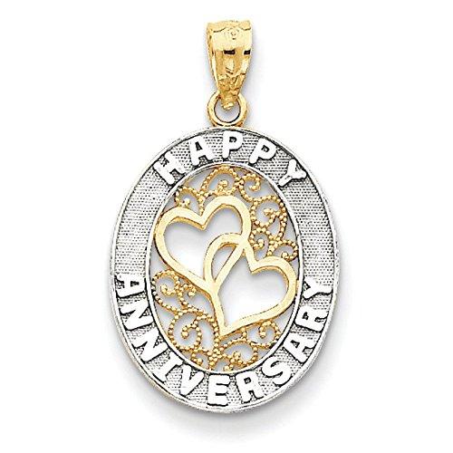Happy Anniversary 14 carats et Rhodium en forme de cœur-JewelryWeb