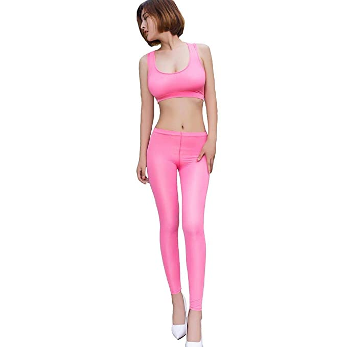 834cc62ea51b Image Unavailable. Image not available for. Color: Sexy Cami Women Bright  Pink Stretching Tank Crop Top and Leggings ...
