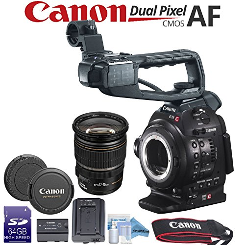 Canon EOS C100 Mark II Cinema Camera with Dual Pixel & Canon EF-S 17-55mm f/2.8 IS USM Lens Bundle by Canon Bundles