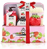 PURE Spa Basket Natural Skin Care Products. Spa Gift Kit Bath Set! Makes Best Bath & Body Gift for Women Spa Baskets! Valentines Day Gift for Her! Women, Teens & Kids!