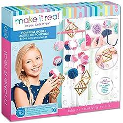 Make It Real - Pom Pom Mobile. DIY Hanging Mobile Art Kit for Girls Room Decor. Includes Pom Pom Maker, Charms, Yarn and More