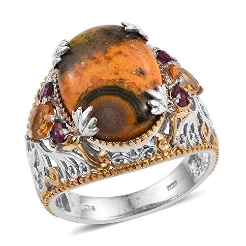 Bumble Bee Jasper, Citrine, Rhodolite Garnet 14K Yellow Gold and Platinum Plated Silver Ring 8.61 cttw