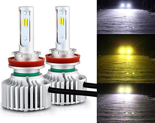 [スポンサー プロダクト]LEDフォグランプ H11 H8 H9 H16(国産車) 3色温度切替 一体式-POOPEE ヘッドライト DC12V車用 28W 両面発光 6000k/3000k イエロー・ホワイト切替え 1年保証