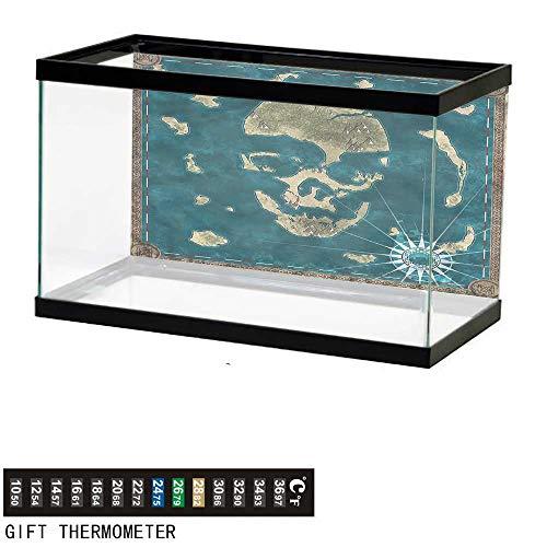 bybyhome Fish Tank Backdrop Island Map,Skeleton Head Marine,Aquarium Background,48