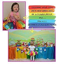 Sweetdress Girls Rainbow Tutu Skirt Dance Dress Ruffle Tiered Clubwear (Large , Rainbow)