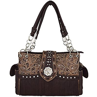 Western Style Fringe Laser Cut Purse Concealed Carry Handbags Women Totes Country Shoulder Bag Wallet Set