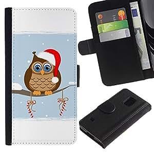 SAMSUNG Galaxy S5 V / i9600 / SM-G900 , la tarjeta de Crédito Slots PU Funda de cuero Monedero caso cubierta de piel ( Owl Winter Elf Hat Red White Drawing Art Candy)